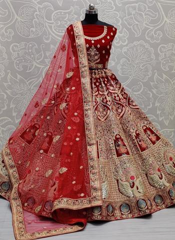 Bridal Wear Red Mirror Work Velvet Lehenga Choli