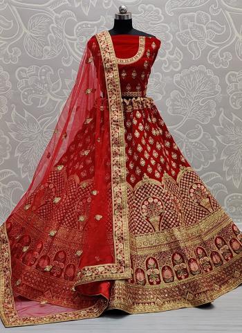 Bridal Wear Red Sequins Work Velvet Lehenga Choli