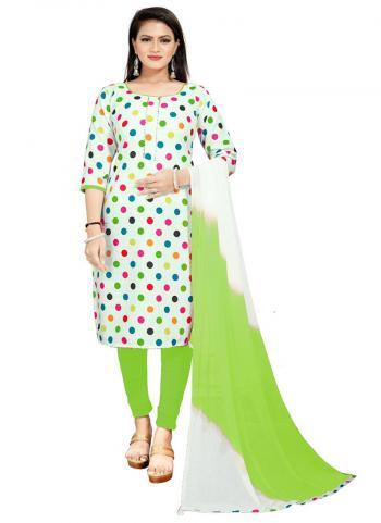 Daily Wear Green Digital Printed Work Cotton Slub Dress Material