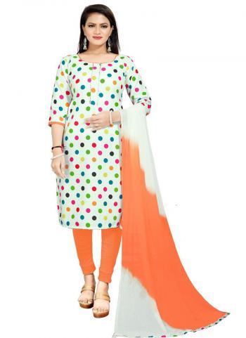 Daily Wear Orange Digital Printed Work Cotton Slub Dress Material