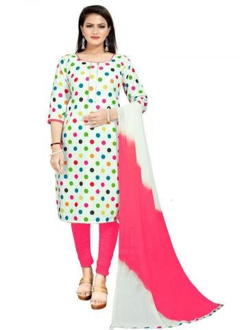 Daily Wear Pink Digital Printed Work Cotton Slub Dress Material