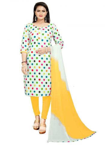 Daily Wear Yellow Digital Printed Work Cotton Slub Dress Material