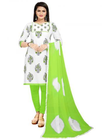 Regular Wear Green Printed Work PC Cotton Dress Material
