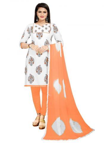 Regular Wear Orange Printed Work PC Cotton Dress Material