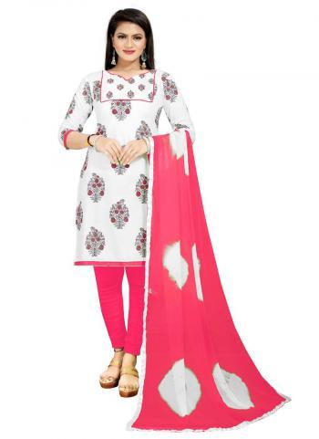 Regular Wear Pink Printed Work PC Cotton Dress Material