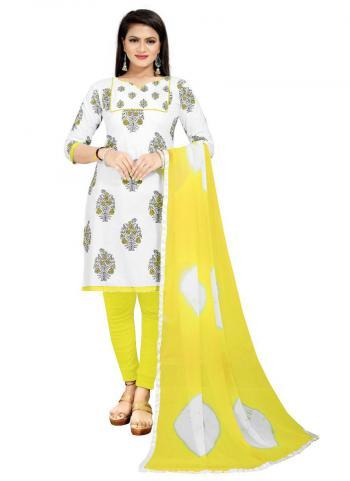 Regular Wear Yellow Printed Work PC Cotton Dress Material