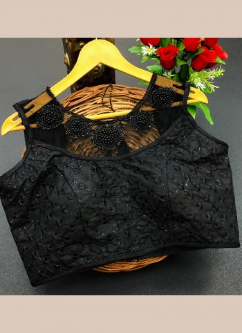 Party Wear Black Sequins Work Silk Blouse