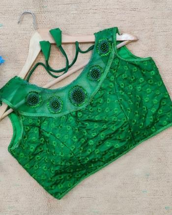 Party Wear Green Sequins Work Silk Blouse