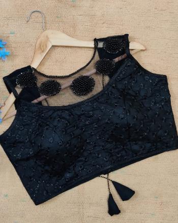 Party Wear Navy Blue Sequins Work Silk Blouse