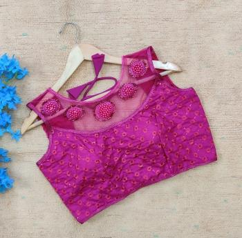 Party Wear Purple Sequins Work Silk Blouse