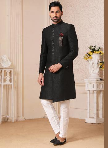 Traditional Wear Black Weaving Work Brocade Jacquard Nawabi Indo Western
