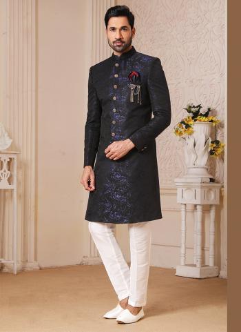 Traditional Wear Blue Weaving Work Brocade Jacquard Nawabi Indo Western