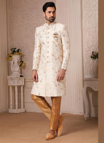 Traditional Wear Cream Weaving Work Brocade Jacquard Nawabi Indo Western