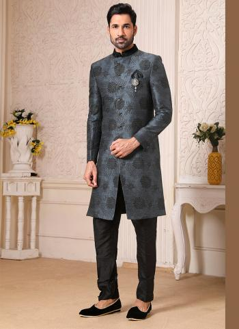 Traditional Wear Dark Blue Gray Weaving Work Brocade Jacquard Nawabi Indo Western
