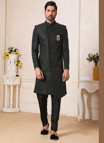 Traditional Wear Dark Green Weaving Work Brocade Jacquard Nawabi Indo Western