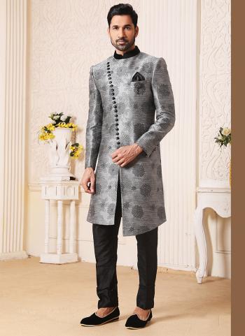 Traditional Wear Gray Weaving Work Brocade Jacquard Nawabi Indo Western