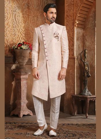 Traditional Wear Light Pink Weaving Work Brocade Jacquard Nawabi Indo Western