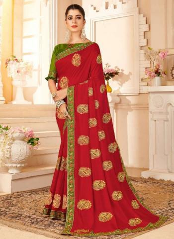 Party Wear Red Moti Work Vichitra Silk Saree