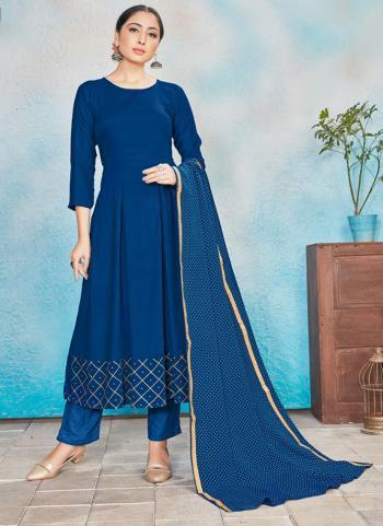 Festival Wear Blue Foil Printed Work Rayon Readymade Anarkali Suit
