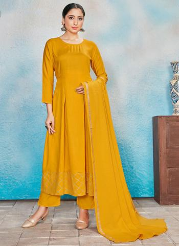 Festival Wear Yellow Foil Printed Work Rayon Readymade Anarkali Suit