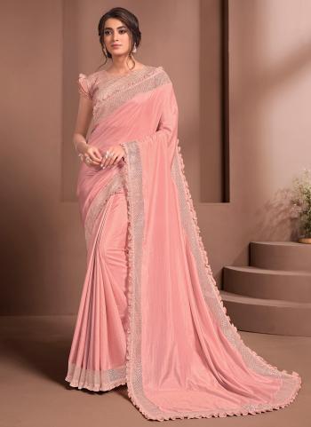 Party Wear Peach Thread Work Silk georgette Saree