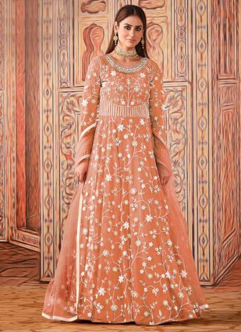 Wedding Wear Peach Sequence Work Net Anarkali Suit