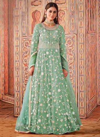 Wedding Wear Pista Green Sequence Work Net Anarkali Suit