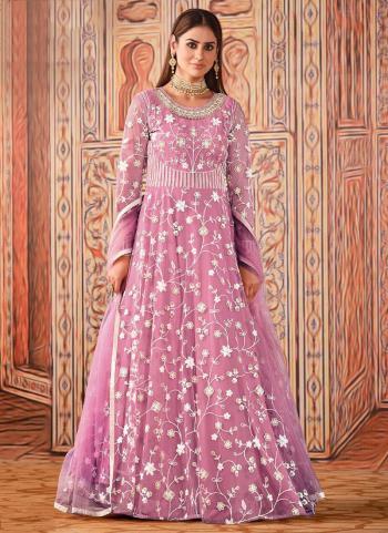 Wedding Wear Purple Sequence Work Net Anarkali Suit