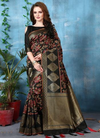 Festival Wear Black Jacquard Art Silk Saree