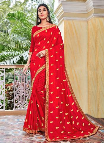 Festival Wear Red Butti Work Vichitra Silk Saree