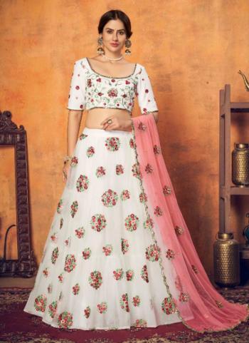 Wedding Wear White Sequins Work Net Lehenga Choli