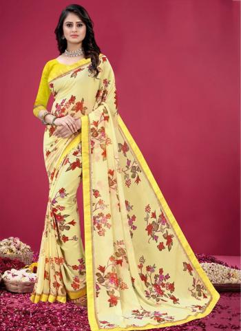 Regular Wear Yellow Printed Work Georgette Saree