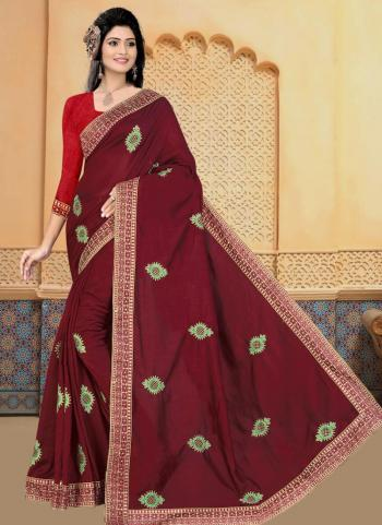 Festival Wear Maroon Embroidery Work Vichitra Silk Saree