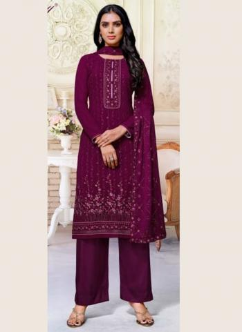 Festival Wear Wine Sequins Work Pure Georgette Palazzo Suit