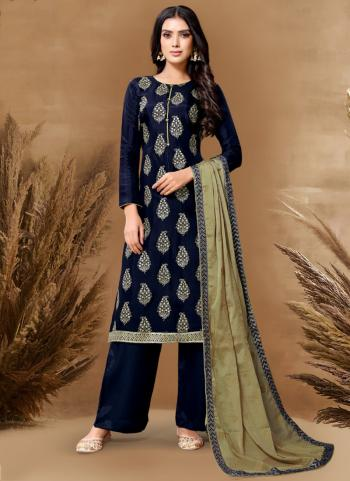Traditional Wear Navy Blue Embroidery Work Pure Upada Viscose Palazzo Suit