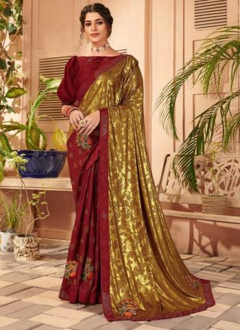 Party Wear Maroon Embroidery Work Lycra Saree