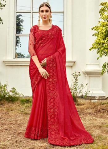 Wedding Wear Rani Swarovski Work Fancy Saree