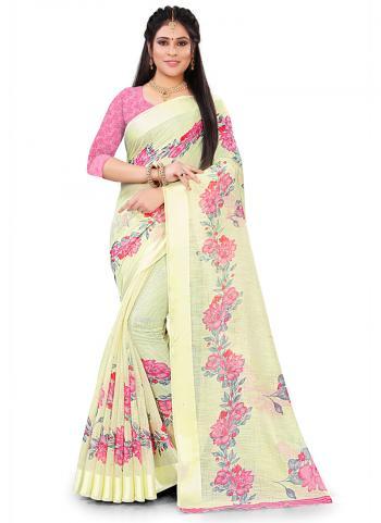 Casual Wear Yellow Printed Work Linen Saree