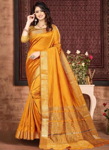 Festival Wear Yellow Weaving Work Silk Saree