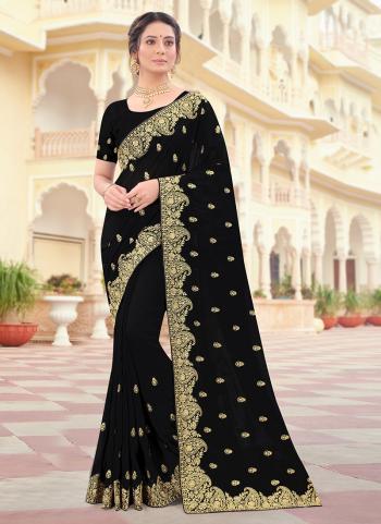 Wedding Wear Black Zari Work Vichitra Silk Saree