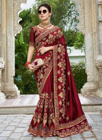 Reception Wear Maroon Embroidery Work Silk Saree