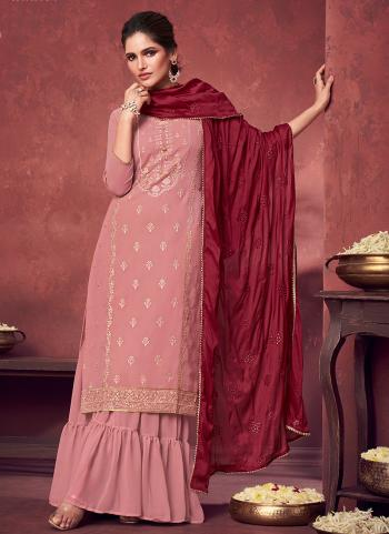 Party Wear Pink Embroidery Work Georgette Sharara Suit