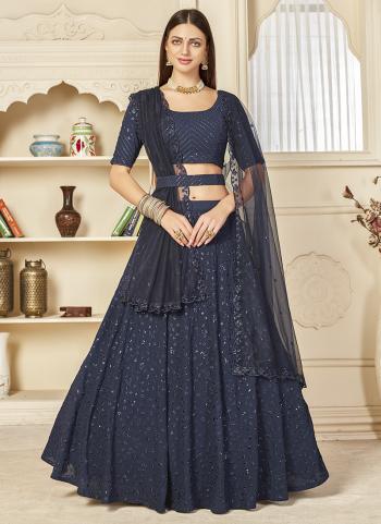 Party Wear Navy Blue Sequins Work Georgette Lehenga Choli