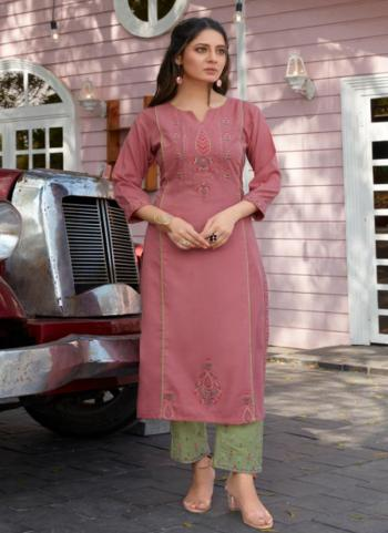 Festival Wear Pink Embroidery Work Cotton Kurti With Pant