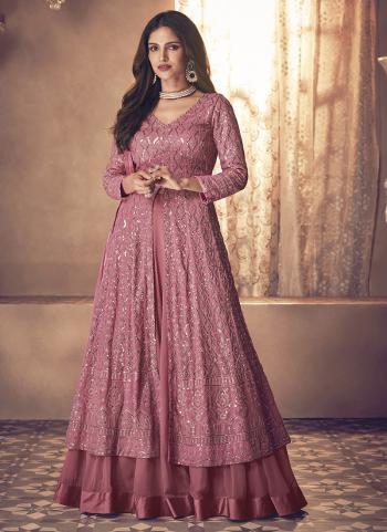 Reception Wear Pink Embroidery Work Georgette Anarkali Suit