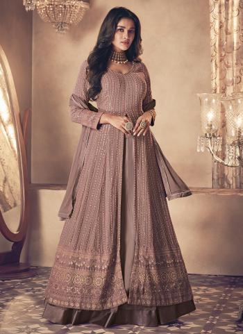 Reception Wear Purple Embroidery Work Georgette Anarkali Suit