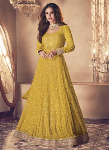 Reception Wear Yellow Embroidery Work Georgette Anarkali Suit
