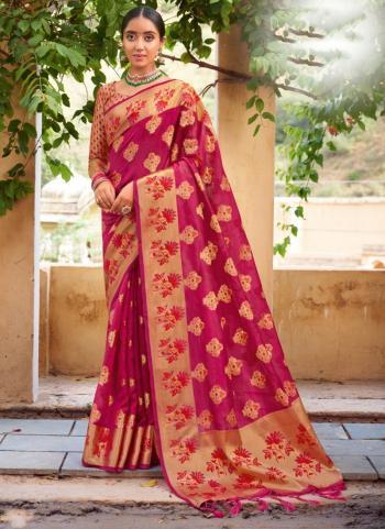 Festival Wear Rani Weaving Work Organza Saree