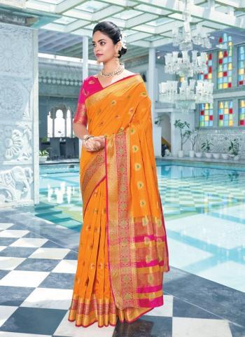 Casual Wear Yellow Weaving Work Cotton Saree