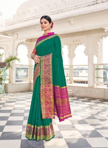 Traditional Wear Green Weaving Work Khadi Silk Saree